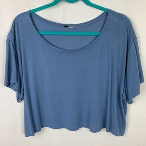 H&M Light Blue Boxy Oversized Crop Top Basic 10